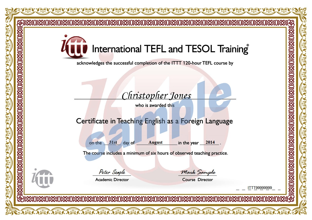 ITTT 120-hour Combined course sample certificate