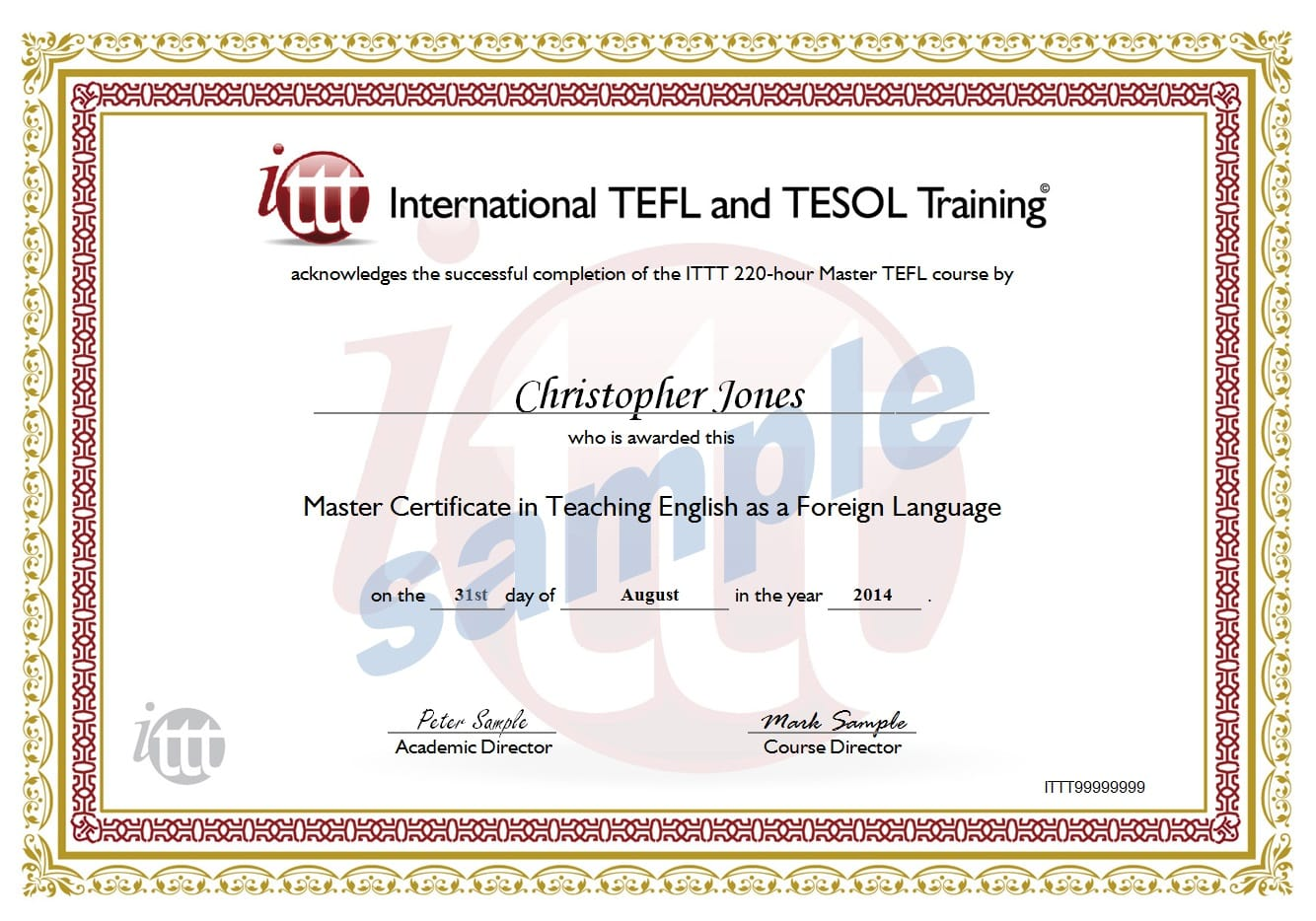 220 Hour Tefl Certificate Sample