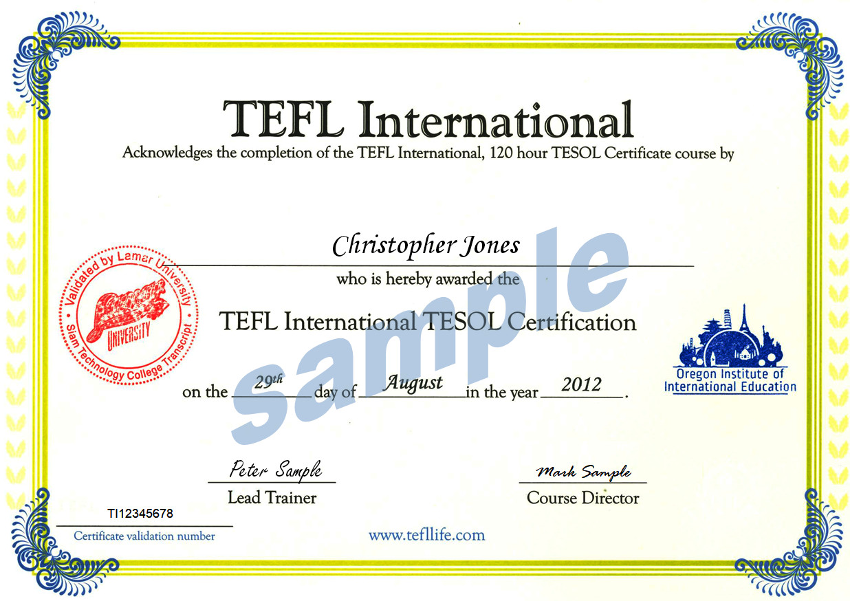 tefl tesol certificate course sample certificates international check authenticated class confirm employer exactly required put request please