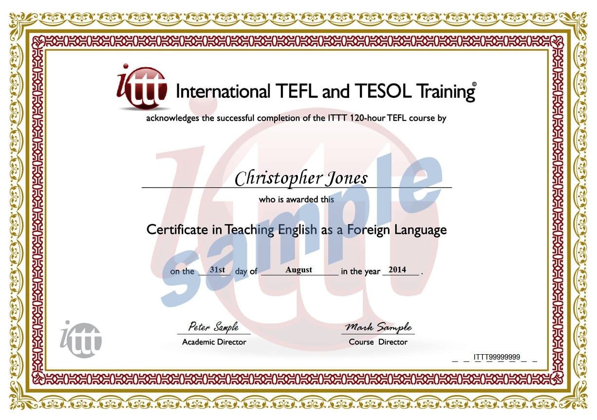 120 hour tefl certificate sample