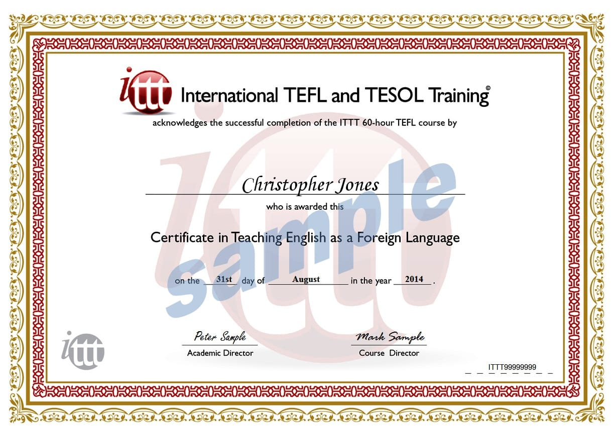 tefl certificate template - sample certificate of training completion personal
