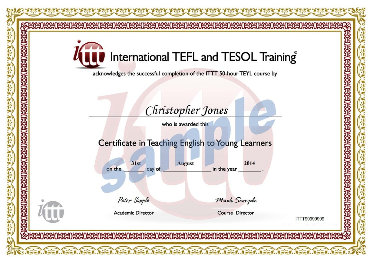 Young Learners 50-hour TEFL Certificate Sample