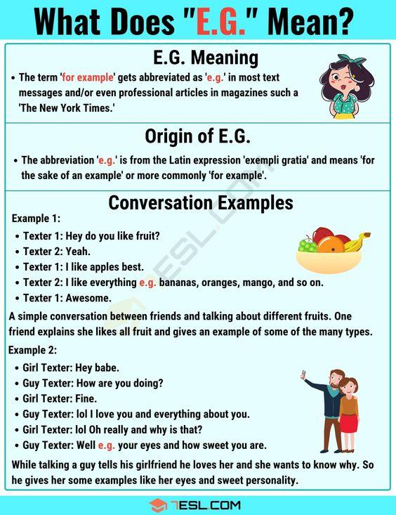 Grammar Corner E.G. Meaning: What Does E.G. Mean?