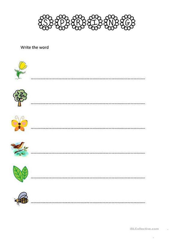 Spring Worksheet Write The Word