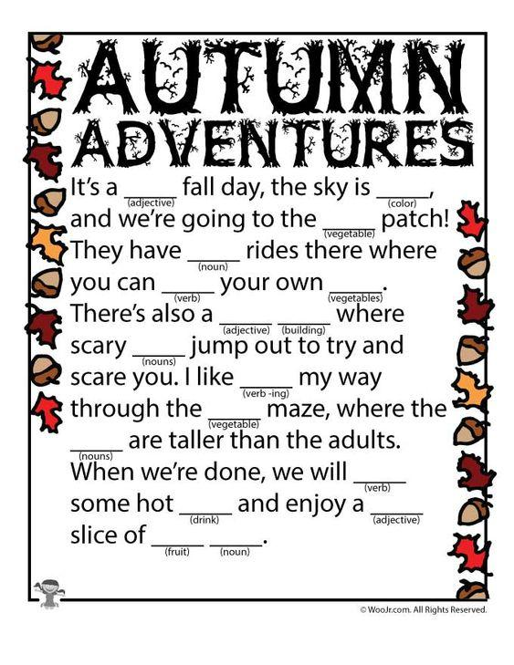 Grammar Corner Printable Autumn Adventures Mad Libs