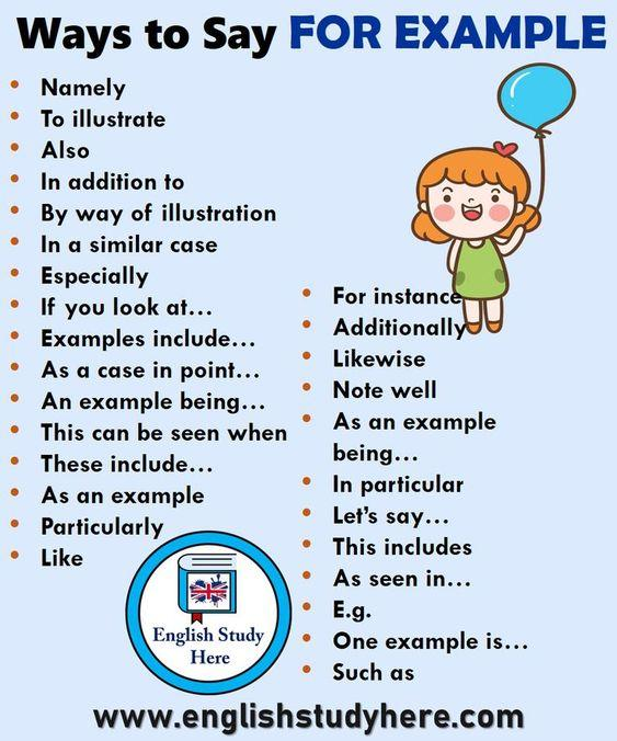 Grammar corner Other Ways to Say  For Example