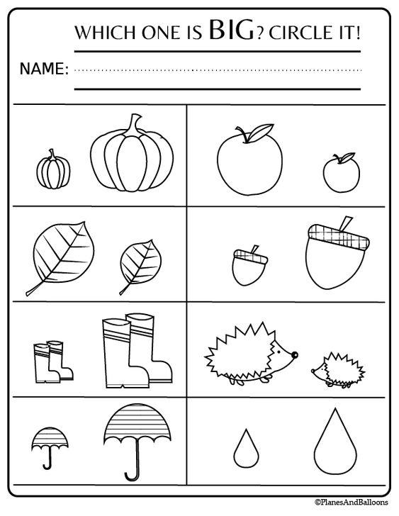Grammar corner Fall Worksheet  Which one is big?
