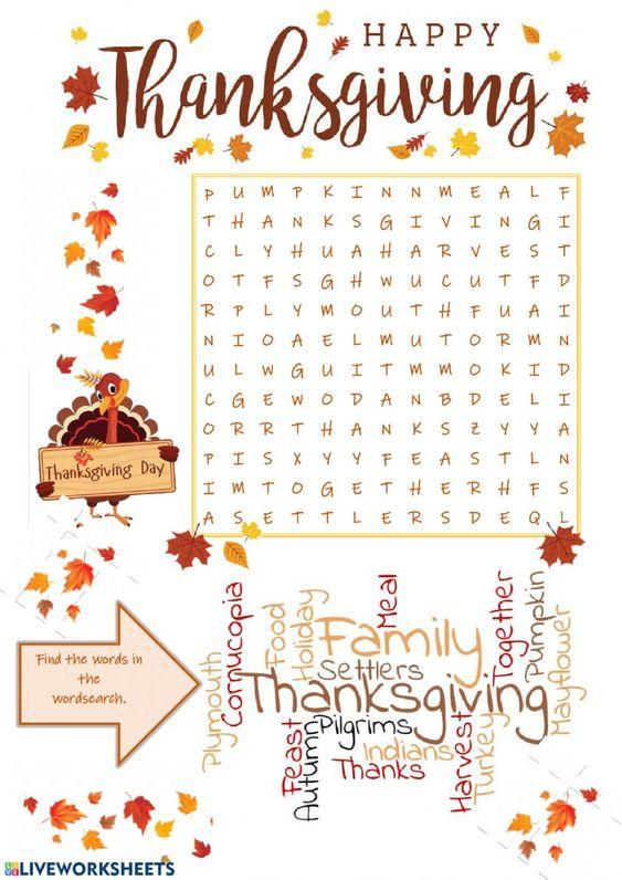 Grammar corner Happy Thanksgiving Word Search Worksheet