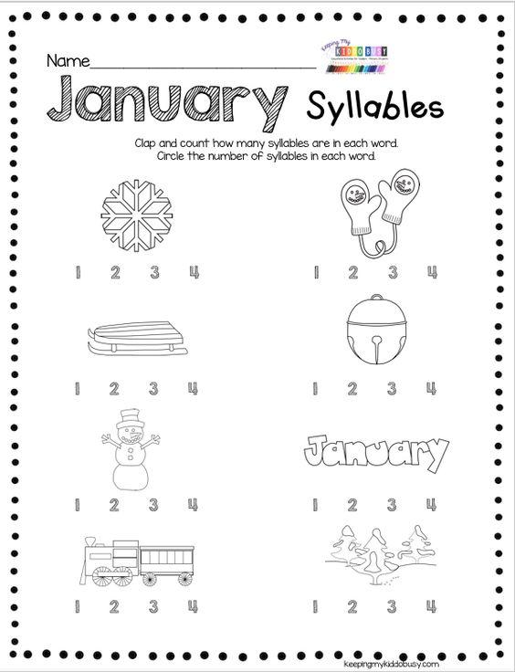 Grammar corner January Syllables Practice Worksheet
