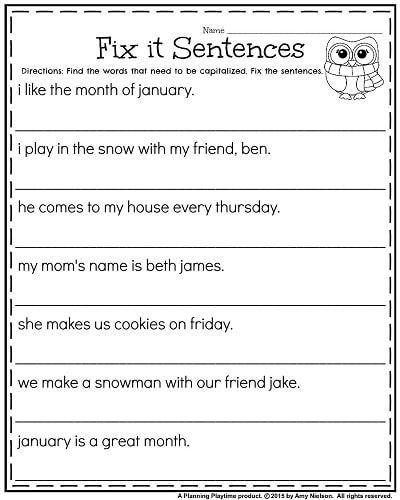 Grammar corner Fix it Sentences for January