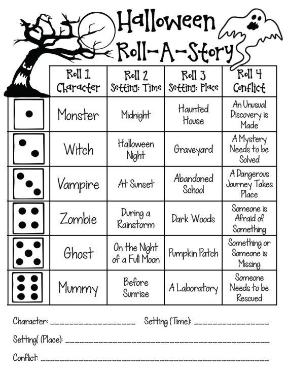 Grammar corner Halloween ESL Roll-A-Story Activity Sheet