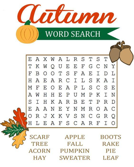 Grammar corner Printable Fall Word Search for ESL Students