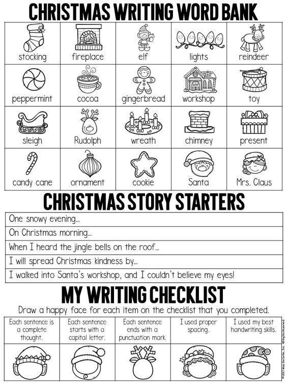 Grammar corner Christmas Writing Word Bank