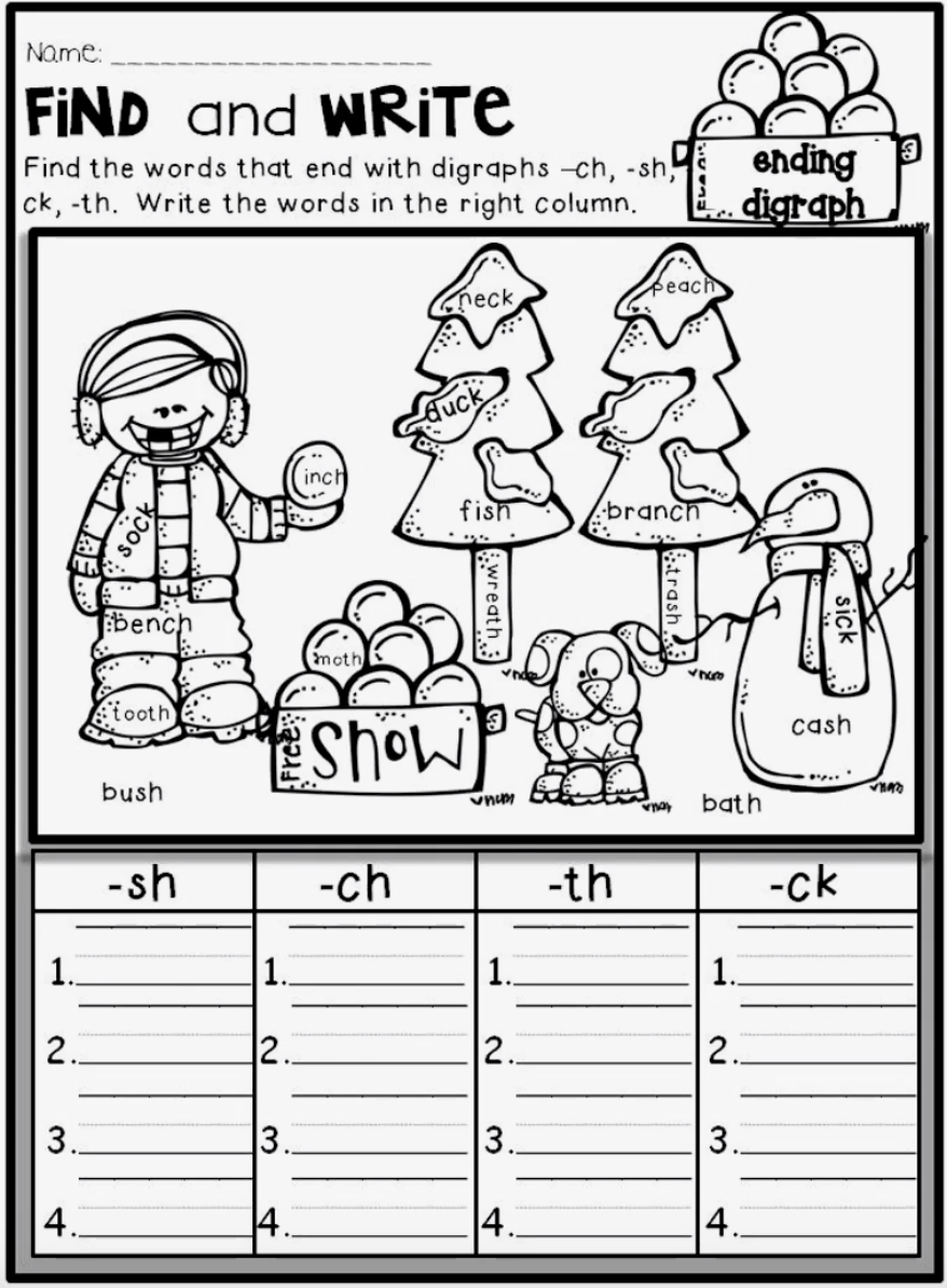 Grammar corner Find and Write Ending Digraph Sheet