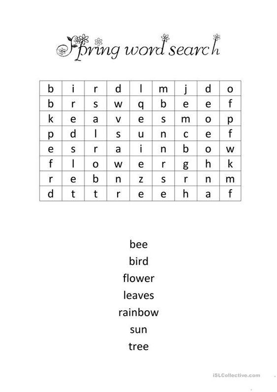Grammar corner Spring Word Search