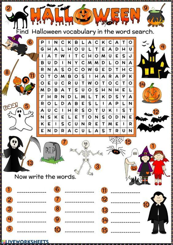 Grammar corner Halloween Word Search