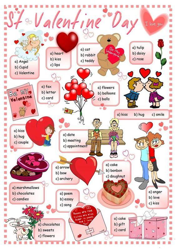 Grammar corner Valentine's Day Vocabulary Multiple Choice