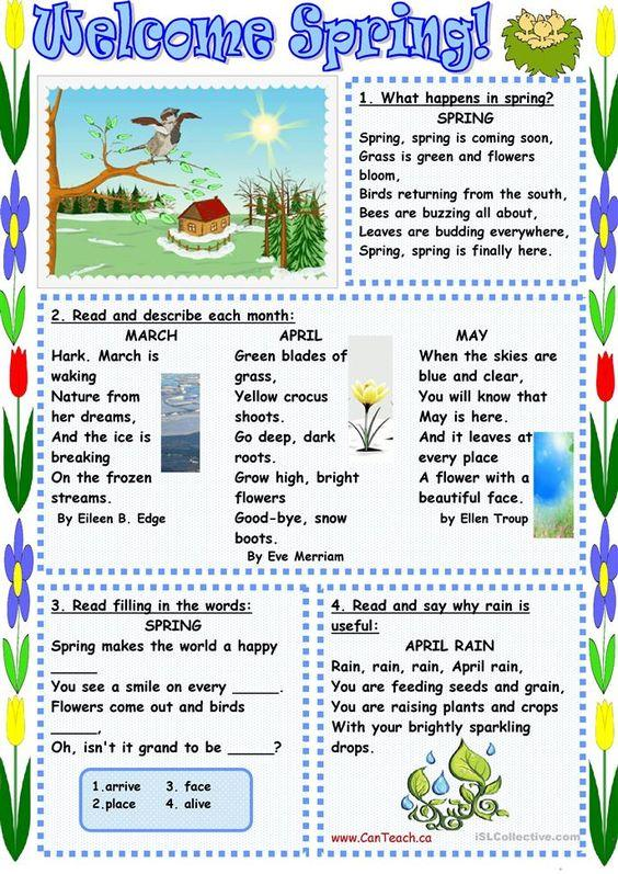 Grammar corner Welcome Spring Reading Worksheet