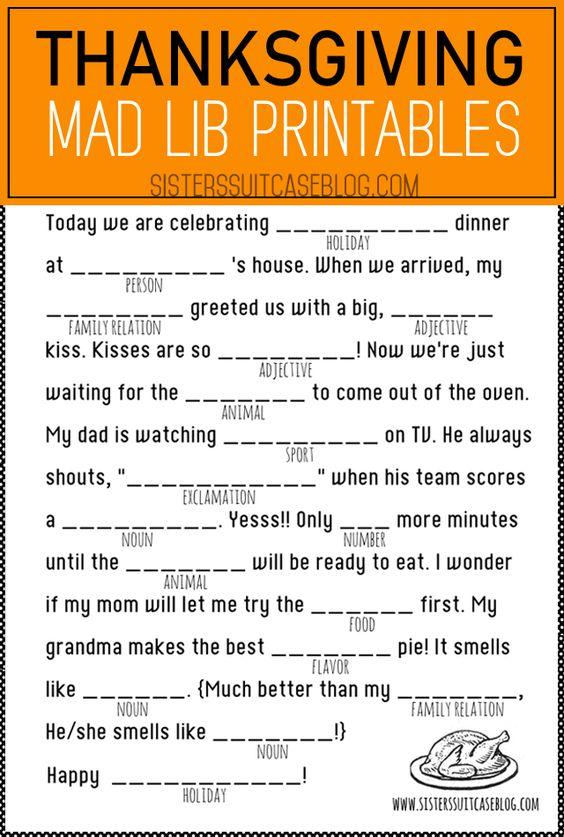 Grammar corner Thanksgiving Mad Libs Printable