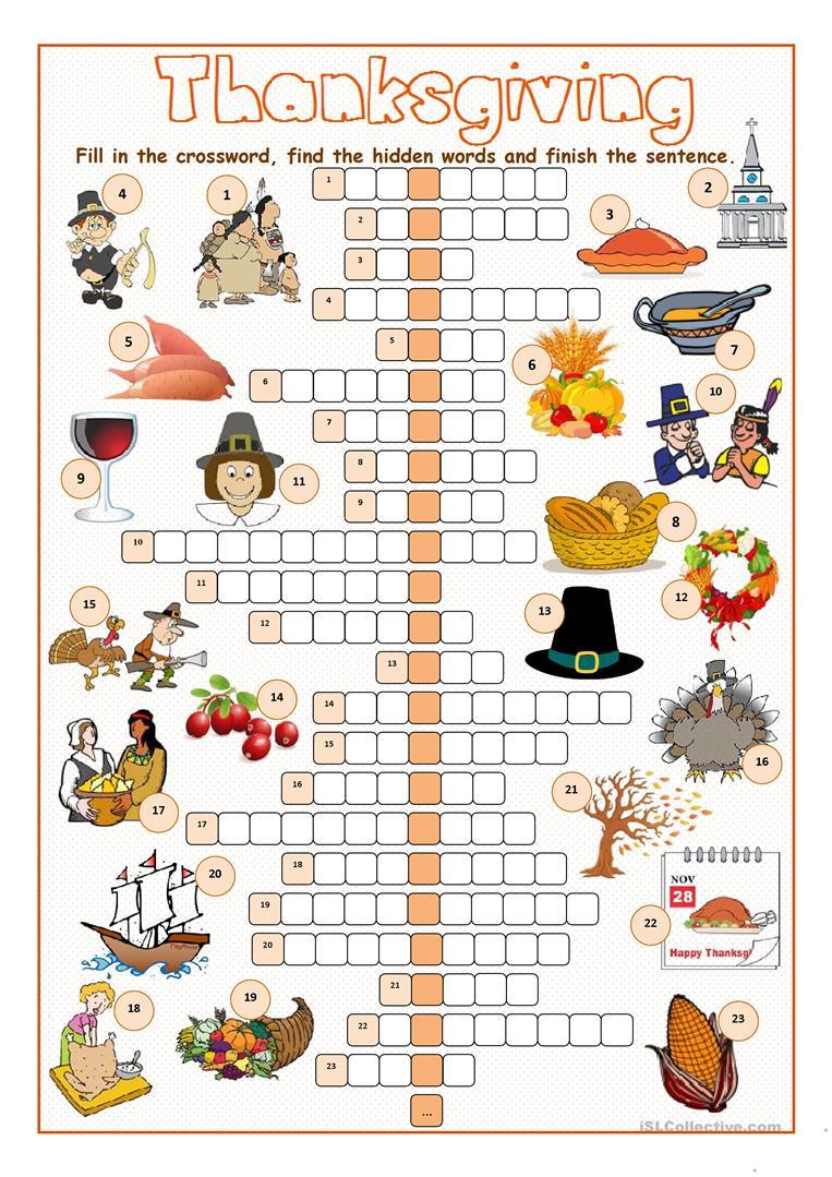 Grammar corner Thanksgiving Crossword Puzzle