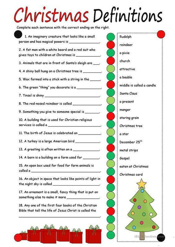 Grammar corner Christmas Definitions ESL Worksheet