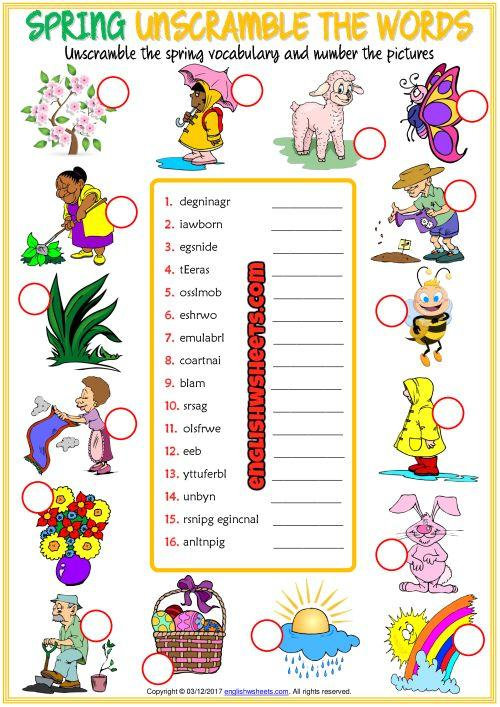 Grammar corner Spring ESL Printable Unscramble the Words Worksheet