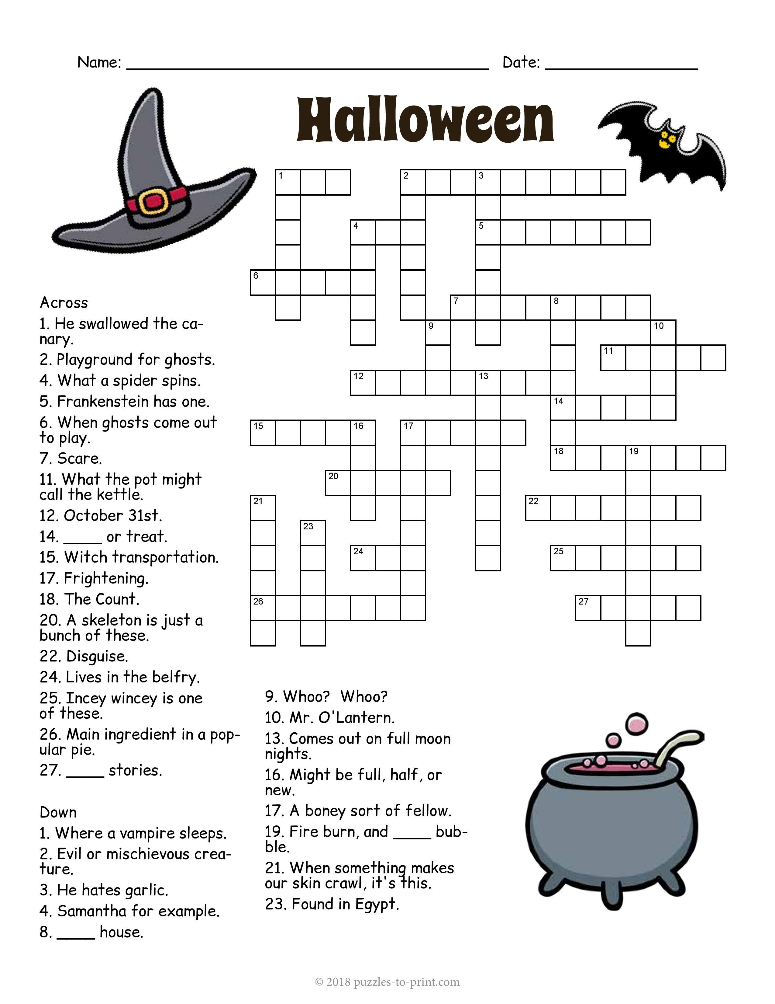 Grammar corner Halloween Crossword