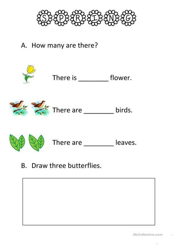 Grammar corner Spring Counting ESL Worksheet
