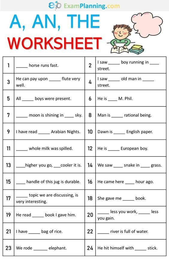 Grammar corner A, An, The Worksheet
