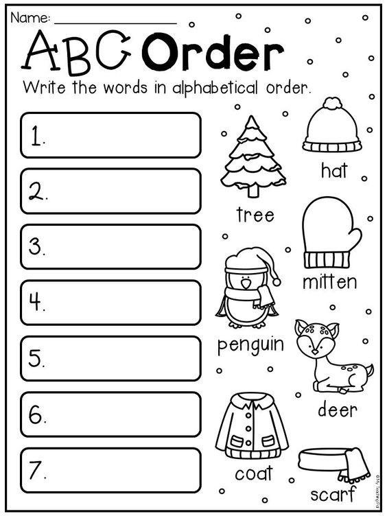 Grammar corner Winter Vocabulary ABC Order Worksheet