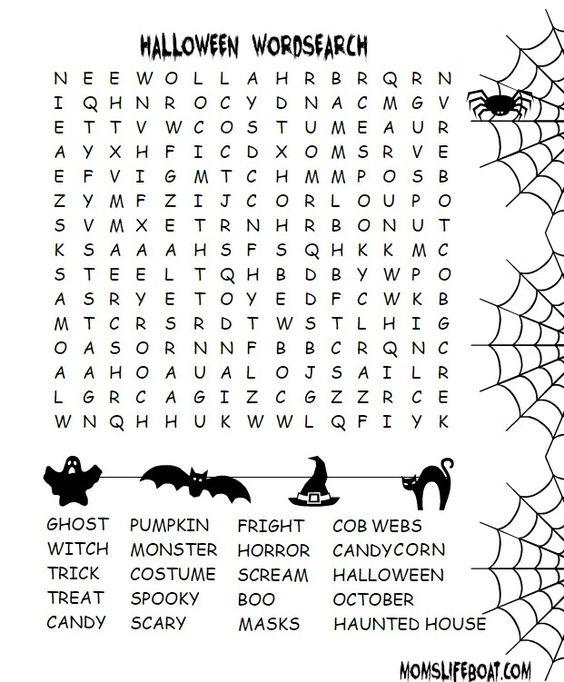 Grammar corner Free Printable Halloween Word Search