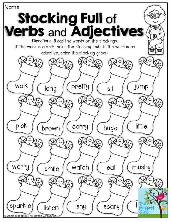 Grammar corner Stockings Full of Verbs and Adjectives