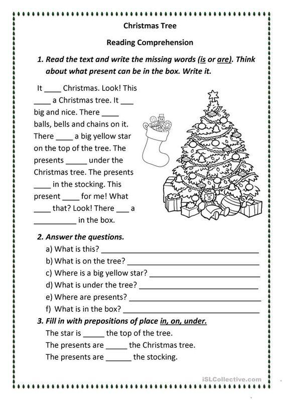 Grammar corner Christmas Tree Reading Comprehension