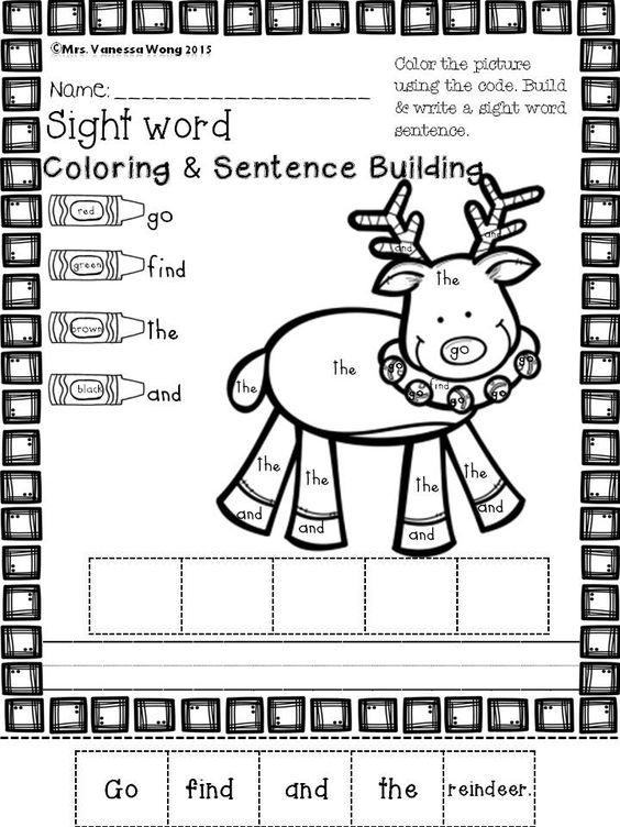 Grammar corner Rudolph Sight Word and Coloring Worksheet