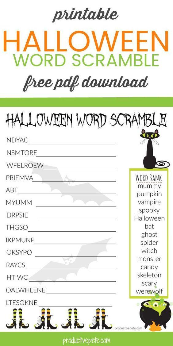 Grammar corner Printable Halloween Word Scramble Worksheet