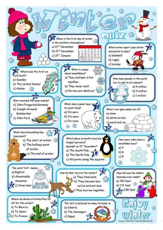 Grammar corner ESL Winter Quiz