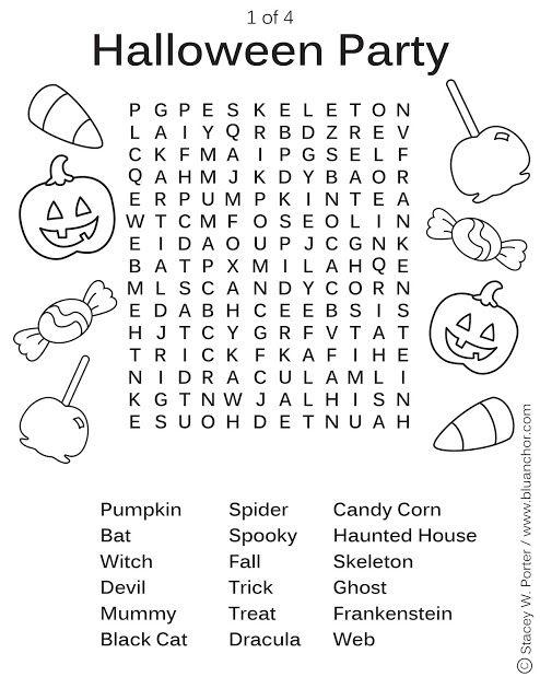 Grammar corner Printable Halloween Party Word Find Activity Sheet