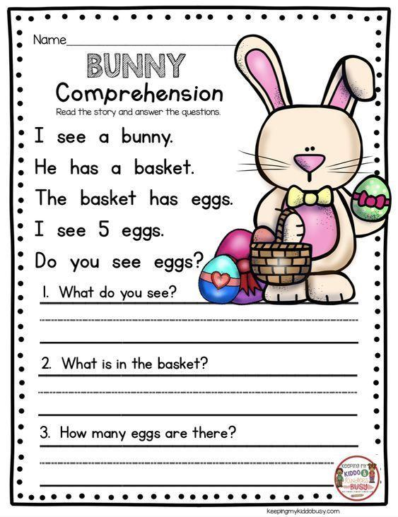 Grammar corner Bunny Reading Comprehension Easter Worksheet