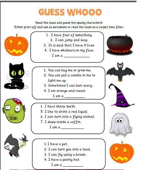 Grammar corner Guess Who Halloween Activity Sheet