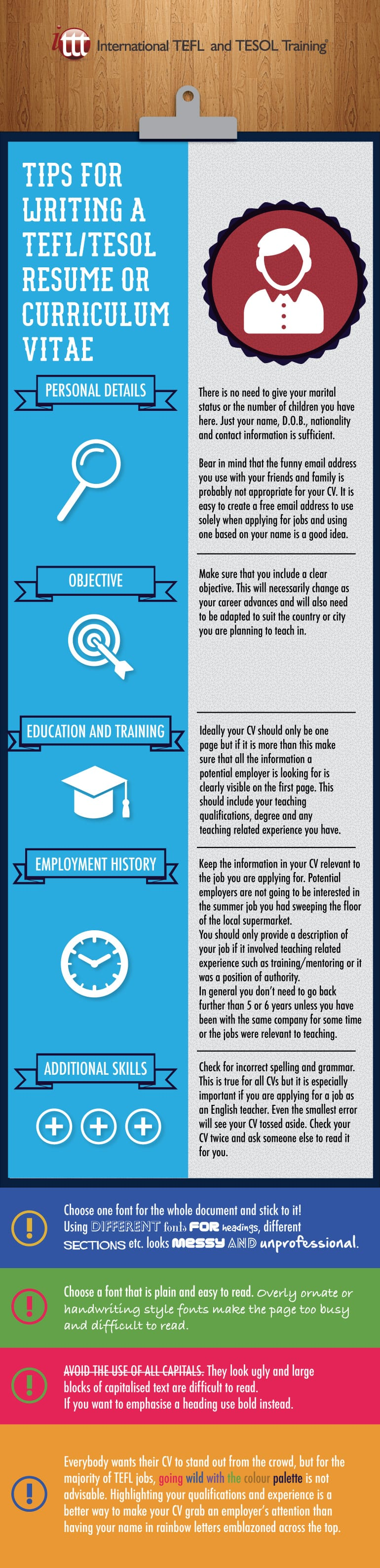 Infographic Tips for writing a TEFL/TESOL Resume/ Curriculum Vitae
