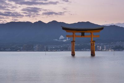 Japanese Itsukushima Shrine in the Water