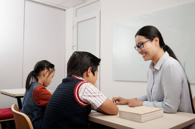 asian teacher and students